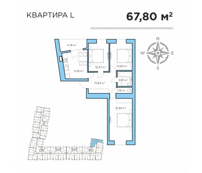 Последняя квартира 67,8 м2- цена 38 670$ + рассрочка 24 мес
